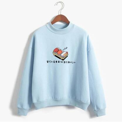 Harajuku Women's Sweatshirt with Sushi Print Hoodies & Sweatshirts Women's Clothing & Accessories