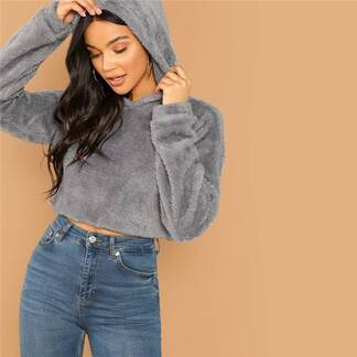 Women's Solid Crop Hoodie Hoodies & Sweatshirts Women's Clothing & Accessories