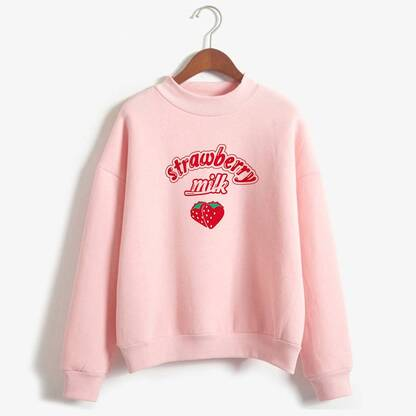 Strawberry Milk Printed Soft Sweatshirt for Women Hoodies & Sweatshirts Women's Clothing & Accessories