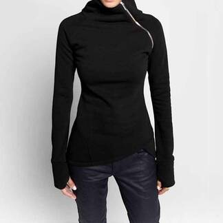 Women's Turtleneck Pullover With Zipper Hoodies & Sweatshirts Women's Clothing & Accessories