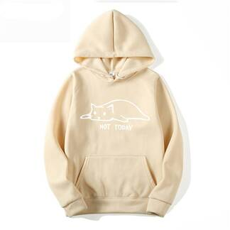 """Casual Hoodie with """"Not Today"""" Print Hoodies & Sweatshirts Women's Clothing & Accessories"""