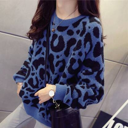 Leopard Knitted Sweater for Women Hoodies & Sweatshirts Women's Clothing & Accessories