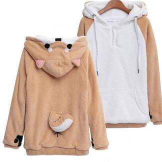 Women's Kawaii Shiba Inu Dog Printed Hoodie Hoodies & Sweatshirts Women's Clothing & Accessories