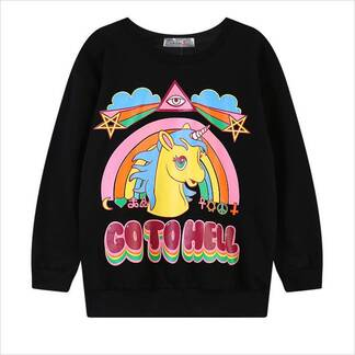 Women's Unicorn Printed Sweatshirt Hoodies & Sweatshirts Women's Clothing & Accessories