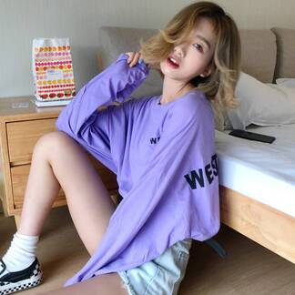 Oversized Women's T-Shirt with Long Sleeves Hoodies & Sweatshirts Women's Clothing & Accessories
