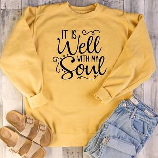 "Women's Basic Hoodie ""It Is Well with My Soul"" Hoodies & Sweatshirts Women's Clothing & Accessories"