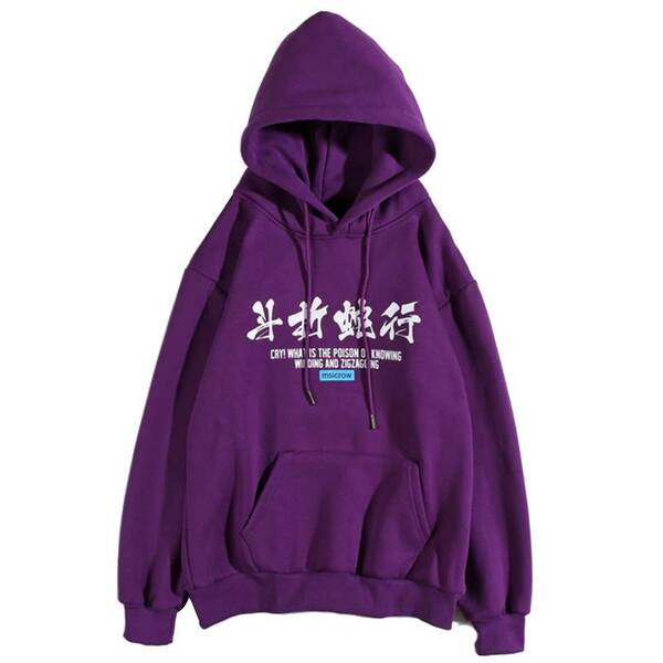 Colorful Asian Themed Printed Hoodie Hoodies & Sweatshirts Women's Clothing & Accessories