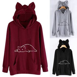 Women's Cat Printed Polyester Hoodie Hoodies & Sweatshirts Women's Clothing & Accessories
