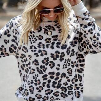 Women's Leopard Printed Sweater Hoodies & Sweatshirts Women's Clothing & Accessories