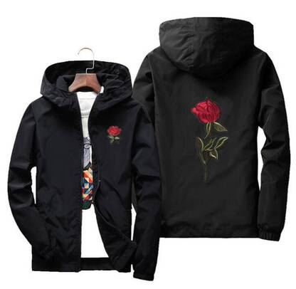 Fashion Windbreakers with Rose Print for Women Hoodies & Sweatshirts Women's Clothing & Accessories