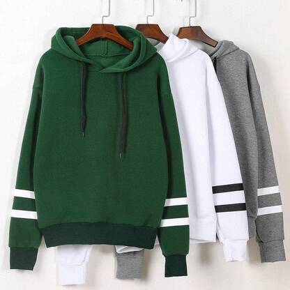 Women's Cotton Hoodie with Striped Sleeve Hoodies & Sweatshirts Women's Clothing & Accessories