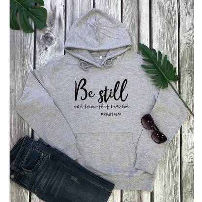 """Women's Basic Hoodie """"Be Still and Know That I Am God"""" Hoodies & Sweatshirts Women's Clothing & Accessories"""