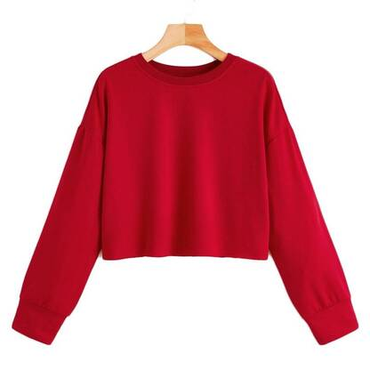 Cropped Basic Sweatshirt for Women Hoodies & Sweatshirts Women's Clothing & Accessories