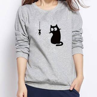 Women's Cat Printed Sweatshirt Hoodies & Sweatshirts Women's Clothing & Accessories