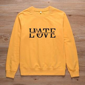 "Women's Cotton Pullover ""Hate Love"" Hoodies & Sweatshirts Women's Clothing & Accessories"