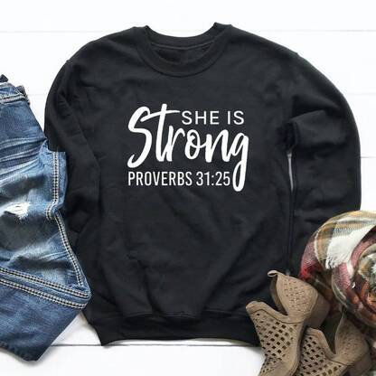 """Women's Colourful Cotton Pullover """"She Is Strong"""" Hoodies & Sweatshirts Women's Clothing & Accessories"""
