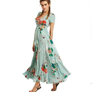 Women's Floral Printed Long Flare Dress Dresses Women's Clothing & Accessories