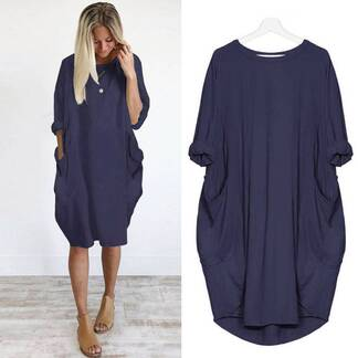 Women's Plus Size Casual Summer Cotton Dress Dresses Women's Clothing & Accessories