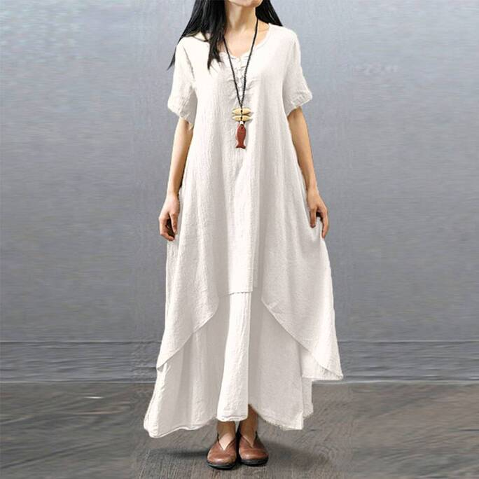 Women's Boho Linen Maxi Dress Dresses Women's Clothing & Accessories
