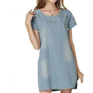 Women's Short Sleeved Beaded Denim Dress Dresses Women's Clothing & Accessories