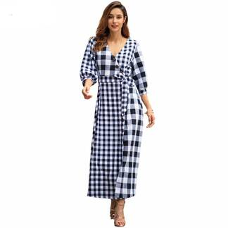 Women's Vintage Plaided Maxi Dress with Belt Dresses Women's Clothing & Accessories