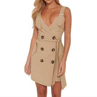 Women's Solid Backless Dress Decorated with Buttons Dresses Women's Clothing & Accessories