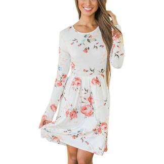 Women's Casual Long Sleeve Floral Printed Dress Dresses Women's Clothing & Accessories