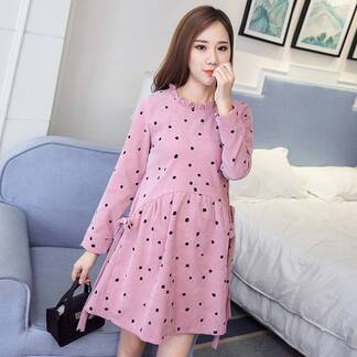 Women's Dot Patterned Maternity Dress Dresses Women's Clothing & Accessories