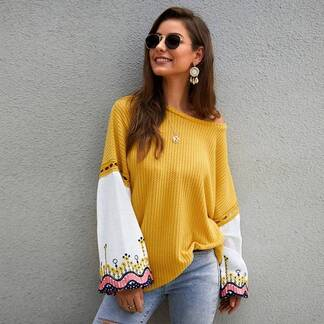 Women's Embroidered Loose Sweater Sweaters Women's Clothing & Accessories