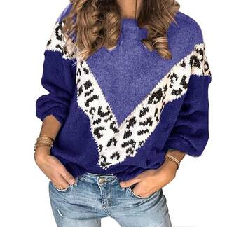 Women's Leopard Printed Knitted Sweater Sweaters Women's Clothing & Accessories