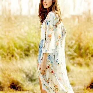 Women's Bohemian Floral Long Sleeved Cardigan Cardigans Women's Clothing & Accessories