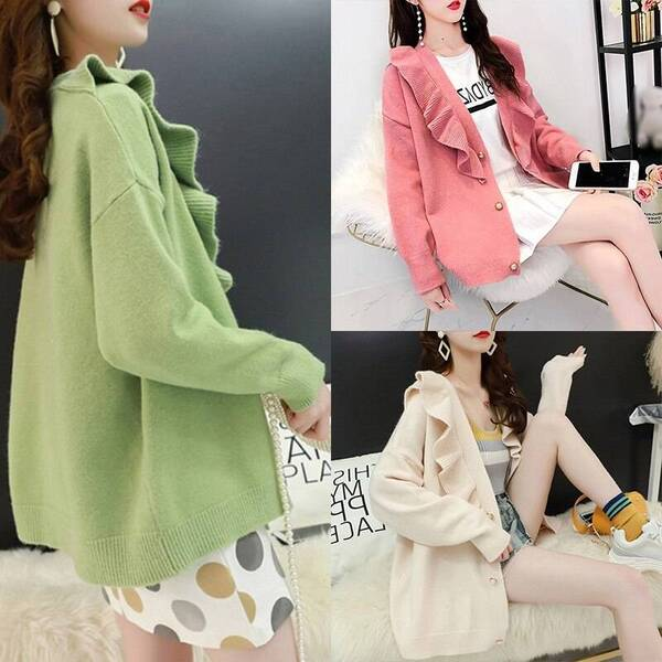 Women's Elegant Cardigan with Ruffles Cardigans Women's Clothing & Accessories