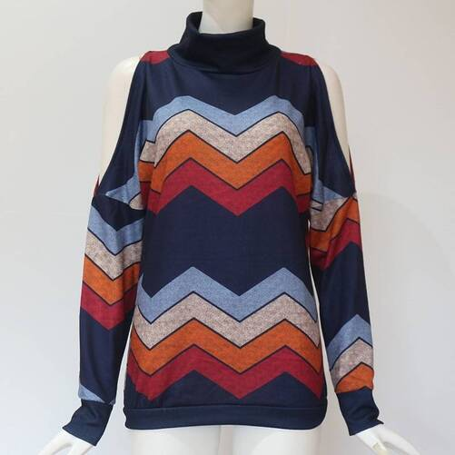 Women's Geometrical Printed Cold Shoulder Pullover Pullovers Women's Clothing & Accessories