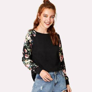 Women's Flowers Printed Long Sleeve T-Shirt Pullovers Women's Clothing & Accessories