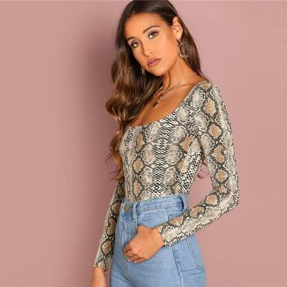 Snakeskin Print Long Sleeve Pullover Pullovers Women's Clothing & Accessories