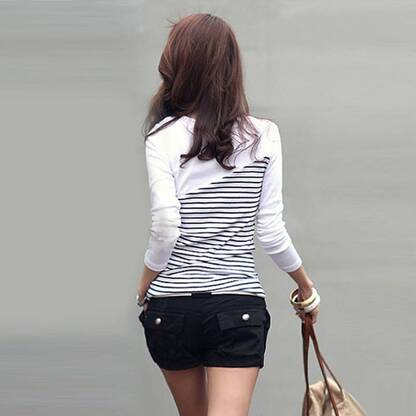 Women's Casual Striped Long Sleeved Pullover Pullovers Women's Clothing & Accessories
