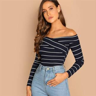 Women's Striped Criss-Cross Pullover Pullovers Women's Clothing & Accessories