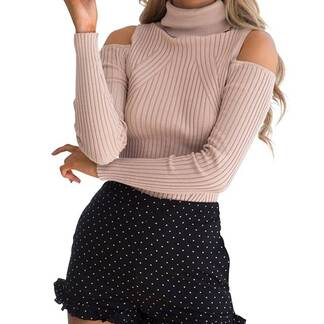 Women's Turtleneck Cold Shoulder Pullover Pullovers Women's Clothing & Accessories