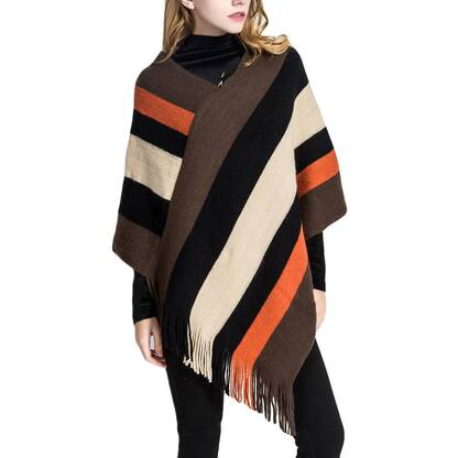 Women's Striped Splicing Acrylic Shawl Pullovers Women's Clothing & Accessories