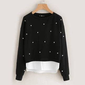Women's Pearl Beaded Layered Design Pullover Pullovers Women's Clothing & Accessories