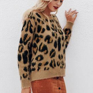 Women's Knitted Leopard Patterned Pullover Pullovers Women's Clothing & Accessories