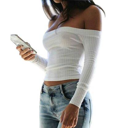 Cute Off-Shoulder Knitted Women's Jumper Pullovers Women's Clothing & Accessories