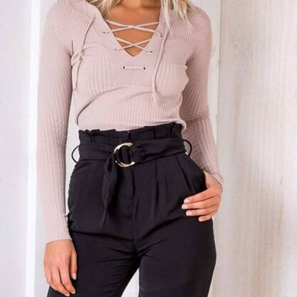Women's Lace-Up Long Sleeved Pullover Pullovers Women's Clothing & Accessories