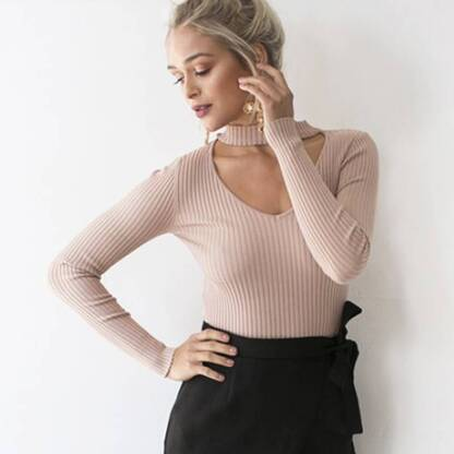 Women's Choker V-Neck Pullover Pullovers Women's Clothing & Accessories