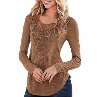 Women's Casual Long Sleeved Lace Pullover Pullovers Women's Clothing & Accessories