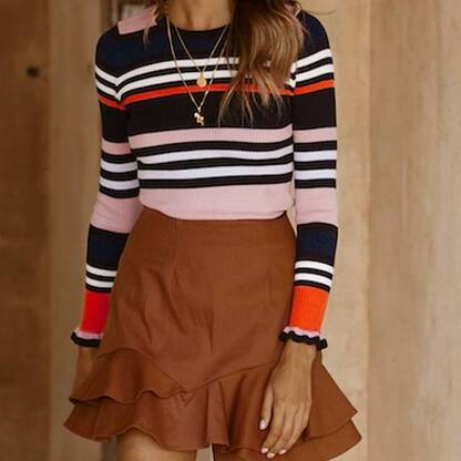 Women's Striped Ruffled Pullover Pullovers Women's Clothing & Accessories