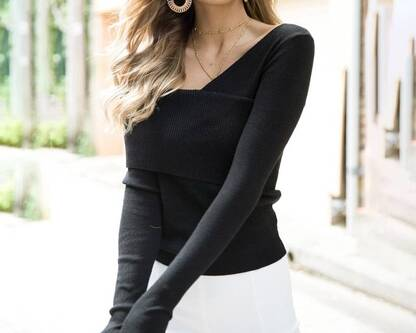 Women's Elegant Off Shoulder V-Neck Pullover Pullovers Women's Clothing & Accessories