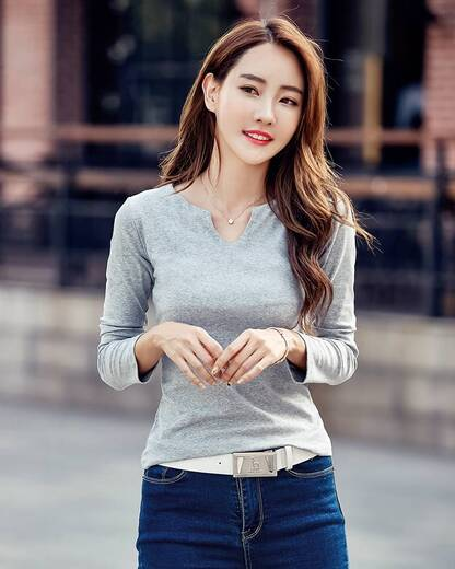 Women's Long Sleeved V-Neck Cotton Pullover Pullovers Women's Clothing & Accessories