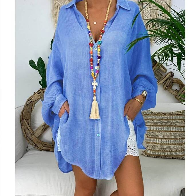 Women's Cotton and Linen Loose Fit Top Blouses & Shirts Women's Clothing & Accessories
