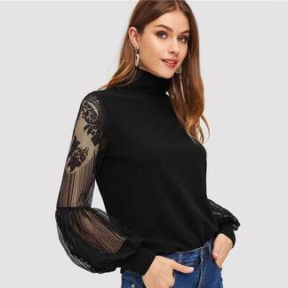 Women's Lace Inserts Design Black Blouse Blouses & Shirts Women's Clothing & Accessories